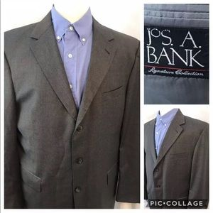 JOS A BANK Mitchel 43R Wool Sport Coat Blazer Gray